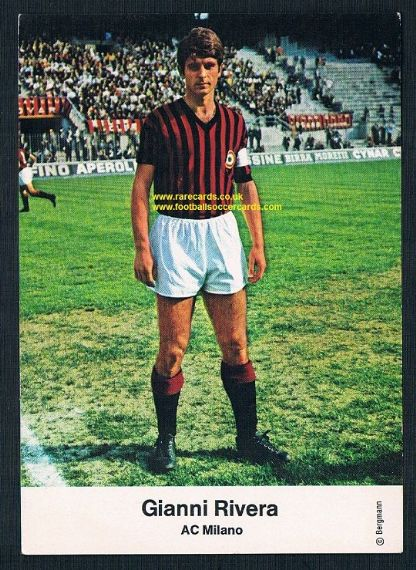 1967 Bergmann Gianni Rivera AC Milan paper postcard-size German trade card